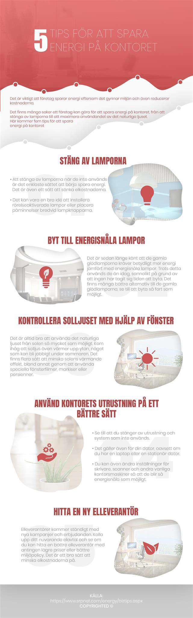 Fem tips och tricks för att spara energi på arbetsplatsen | Infographical